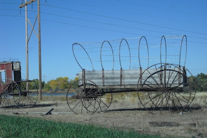 the remains of a covered wagon