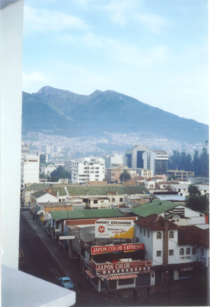 View from Quito hotel room; i suppose that rates three stars.