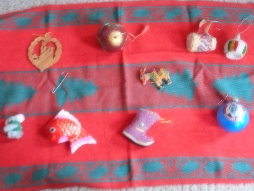 Christmas tree ornaments from (Left to right)Bethlehem, Russia, Ethiopia Ecuador Australia, China, Mongolia, USA